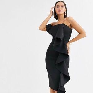 Lavish Alice Black Bardot Scuba Ruffle Dress